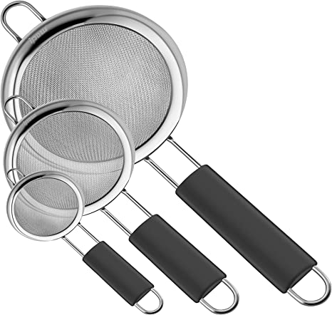 Ipow Food Strainer Set 3 Sizes Fine Stainless Steel Mesh Kitchen Sieve Set Rustproof Colanders With Thickened Non Slip Handles Sifters Crafted Amazon Ca Home Kitchen