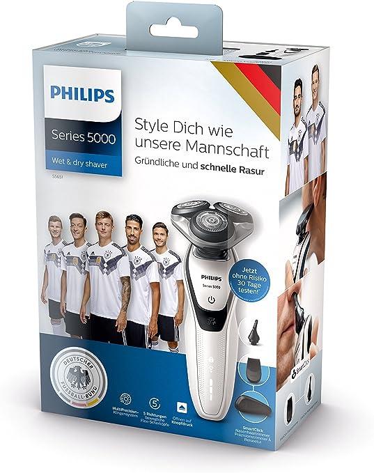 Philips SHAVER Series 5000 S5651/45 - Afeitadora (Máquina de afeitar de rotación, 5-Direction DynamicFlex, Acero inoxidable, Botones, Negro, Blanco, Batería): Amazon.es: Hogar