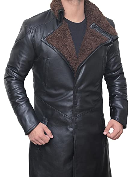 Men's Real Leather Shearling Coat - Bladerunner Black Real Leather ...