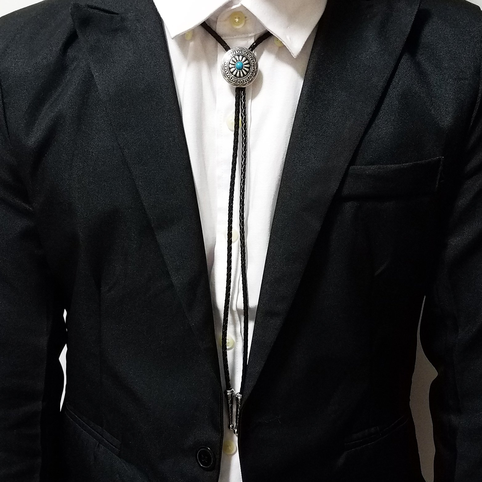 SELOVO Genuine Leather Native American Celtic Coin Bolo Tie Turquise Stone by SELOVO (Image #5)