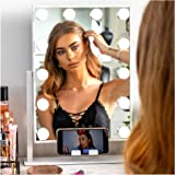 """REBEL POPPY Vanity Mirrors with LED Lights - Phone Mount, 3 Lighting Touch Control, 18.5"""" x 14.8"""", Fogless - Hollywood Lighte"""