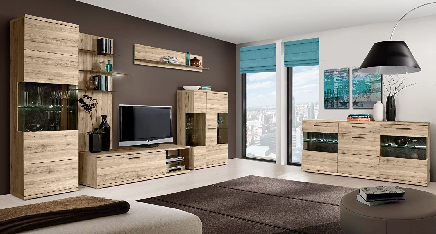 wohnwand als anbauwand ivory ca 350 cm sandeiche dunkel. Black Bedroom Furniture Sets. Home Design Ideas