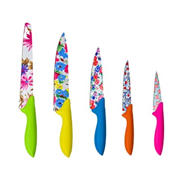 Colorful Stainless Steel Floral Print Kitchen Knife Set | 5 Pieces