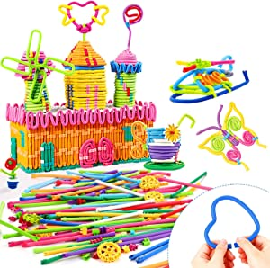 Peradix Building Sticks Toy 111 PCS Flexible Building Block Puzzle Set for Kids 6+, STEM Learning Toys Kit Educational Activity, DIY Gift Soft Bendable Sculpting Sticks for Birthday Christmas New Year
