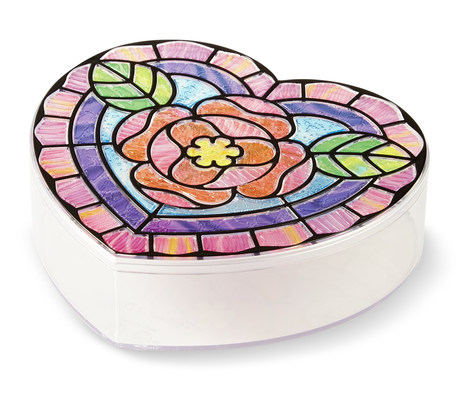Melissa Doug Stained Glass Made Easy Heart Keepsake Box With 50 Stickers