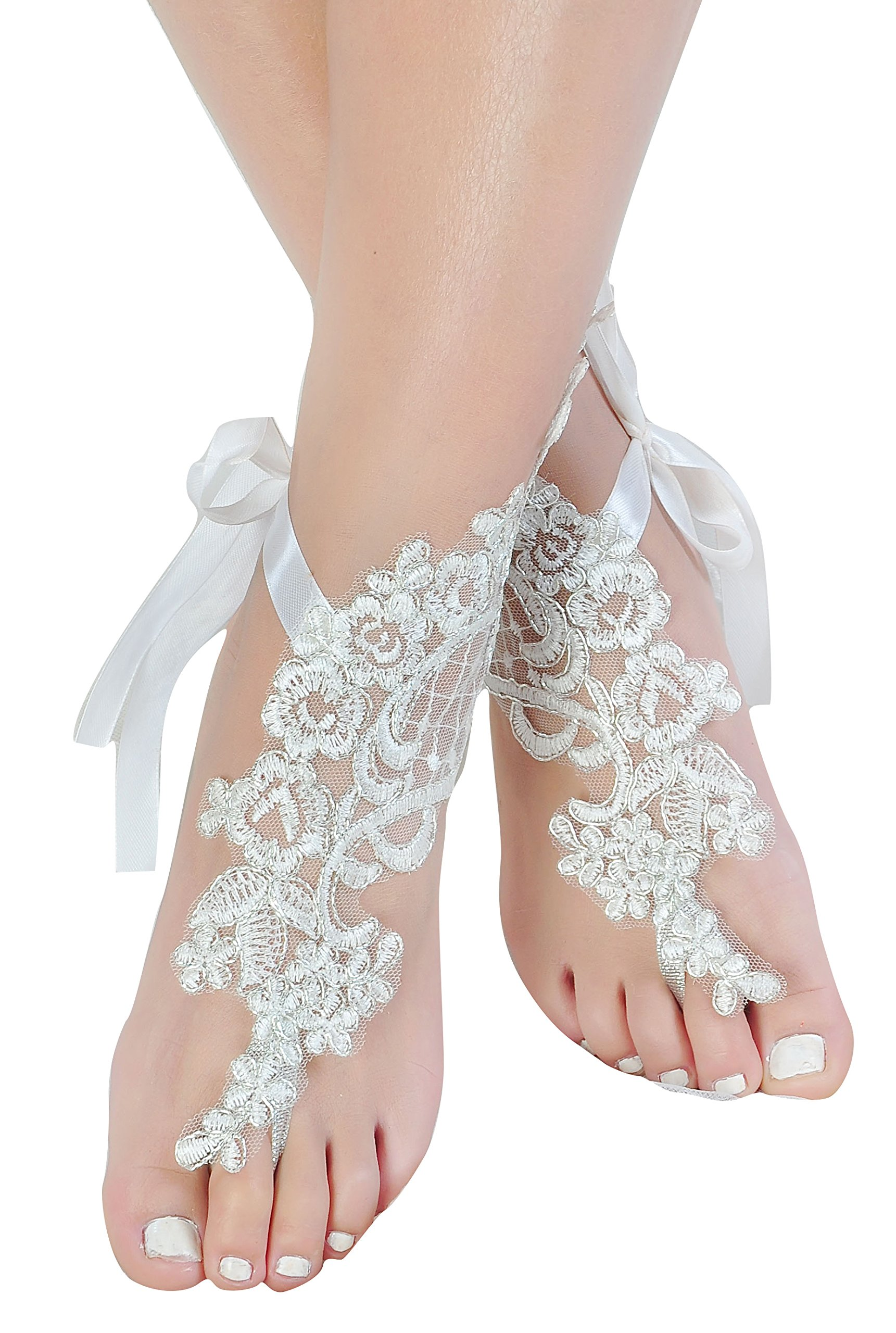 Handmade Lace Anklets,Destination Wedding Barefoot Sandals Prom Party Bangle,Bellydance Accessories-T1