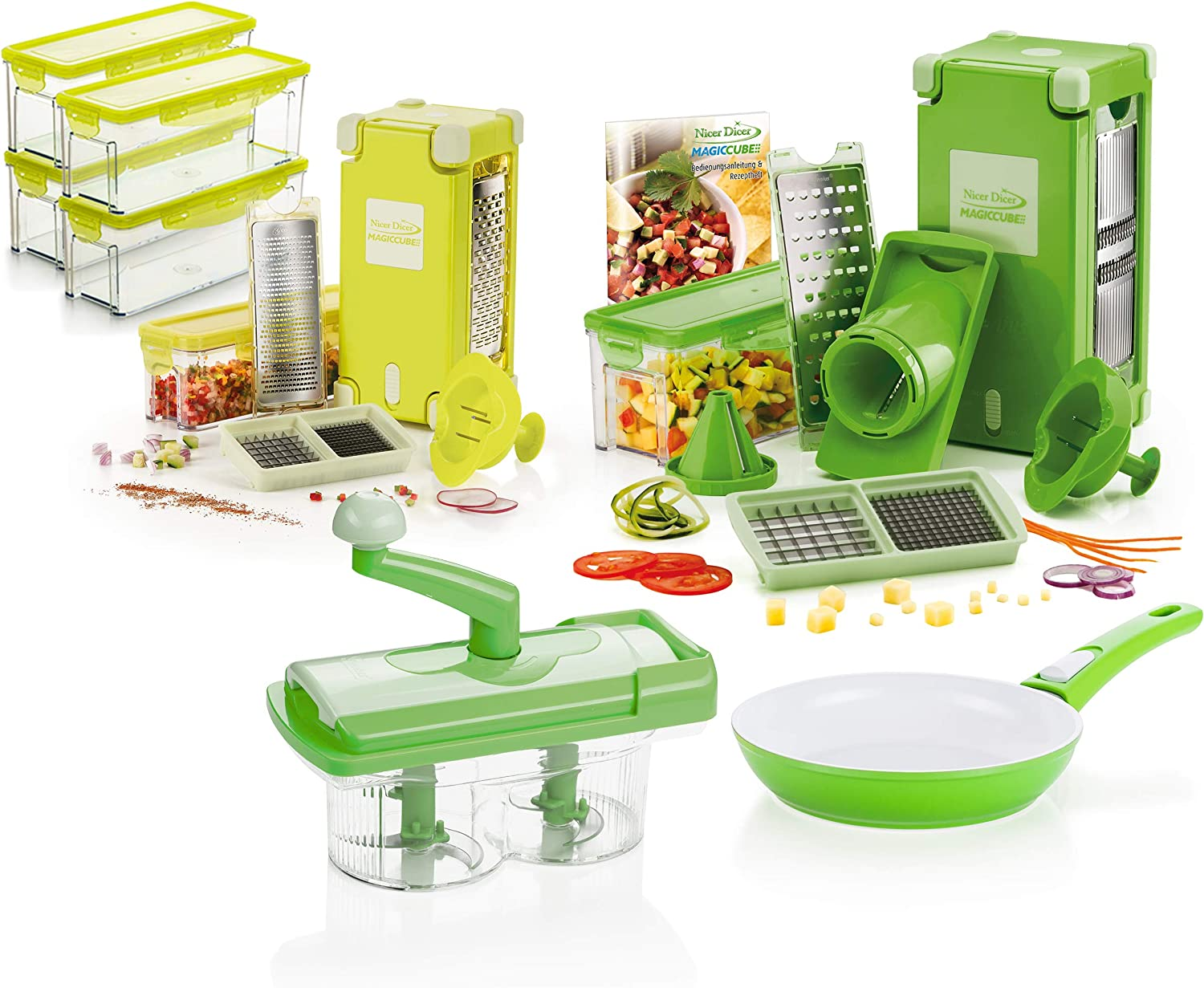 Genius Nicer Dicer Chef Glass Bowl with Lid and Silicone Mat Combination Set as seen on TV New