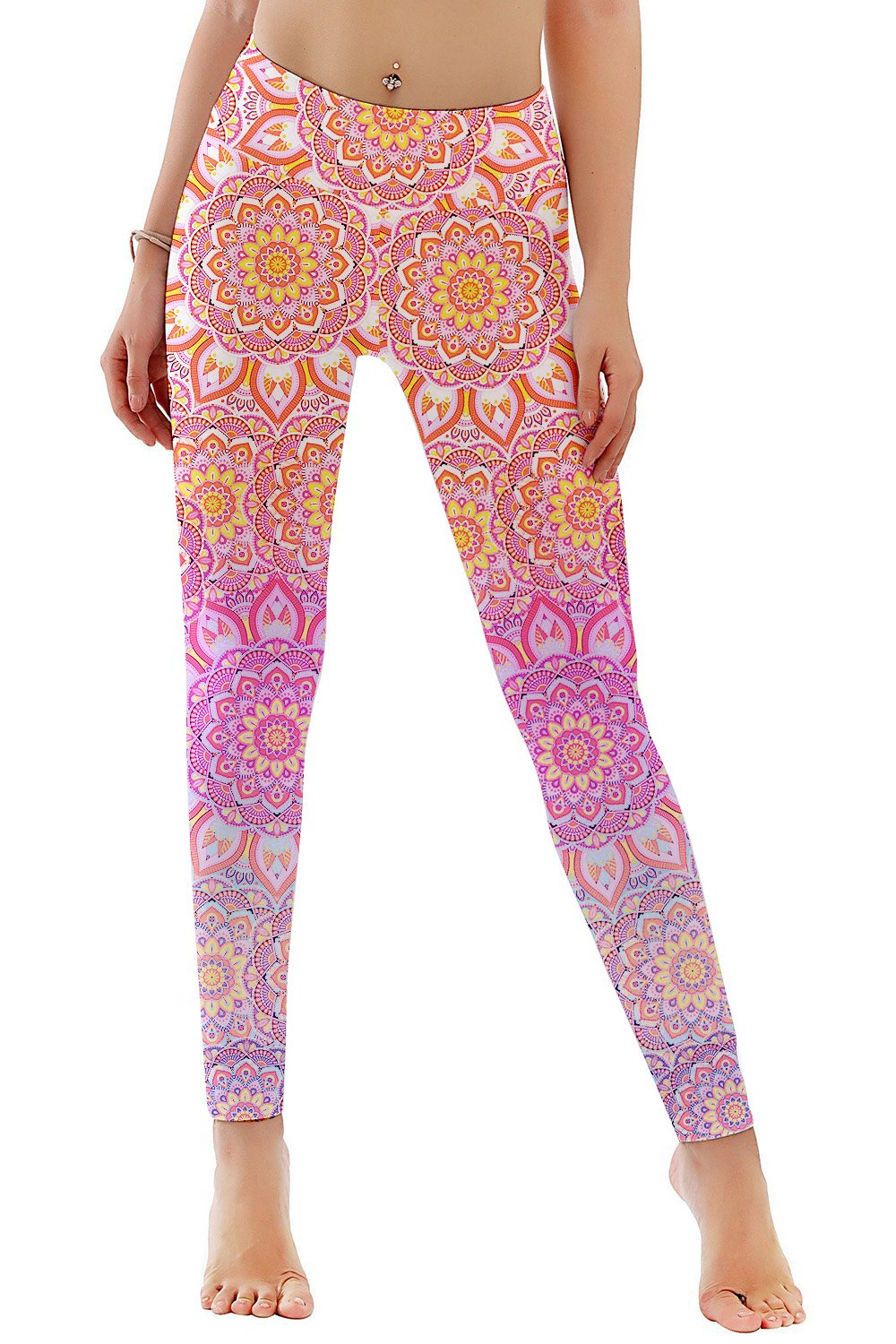 TUONROAD High Waist Printed Leggings Tummy Control Fitness Active Workout Running Jogging Gym Yoga Pants Activewear (Flower-1, S)