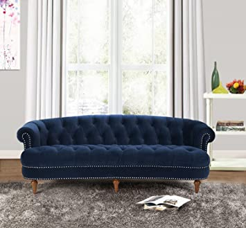 Jennifer Taylor Home La Rosa Collection Modern Victorian Hand Tufted  Upholstered Velvet Sofa With Rolled