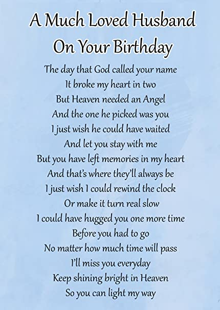 A Much Loved Husband On Your Birthday Memorial Graveside Poem Keepsake Card Includes Free Ground Stake F104 Amazoncouk Kitchen Home