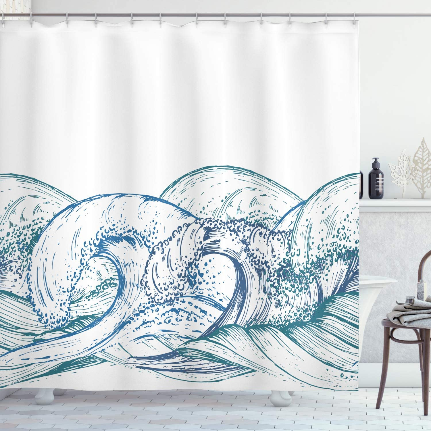 Nautical Great Waves Hand Drawn Bathroom Fabric Shower Curtain /& 12 Hooks 71*71/""