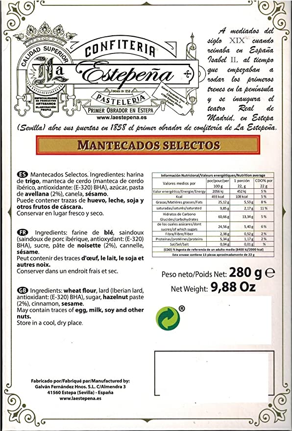 Mantecados Selectos - La Estepeña - 280 Gr: Amazon.es: Alimentación y bebidas