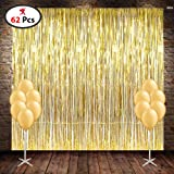 Decoration Set Combo Include Golden FOIL Curtain 2 PCS, Golden Color Latex Balloon 60 PCS, Set of 62/ Birthday Party Supplies/ Anniversary Party Decoration
