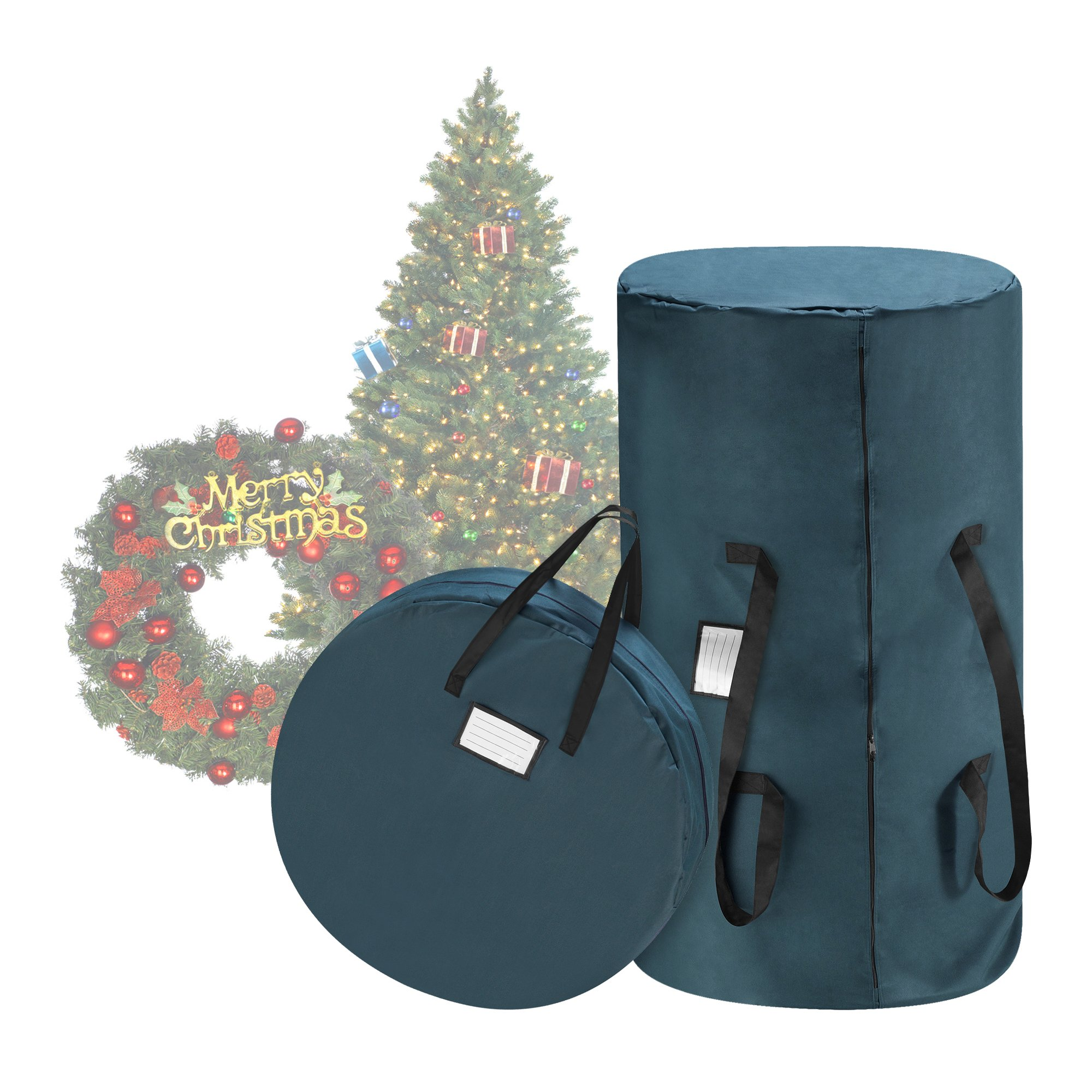 Tiny Tim Totes Premium Green Canvas Christmas Tree Storage Bag & 30'' Inch Wreath Bag