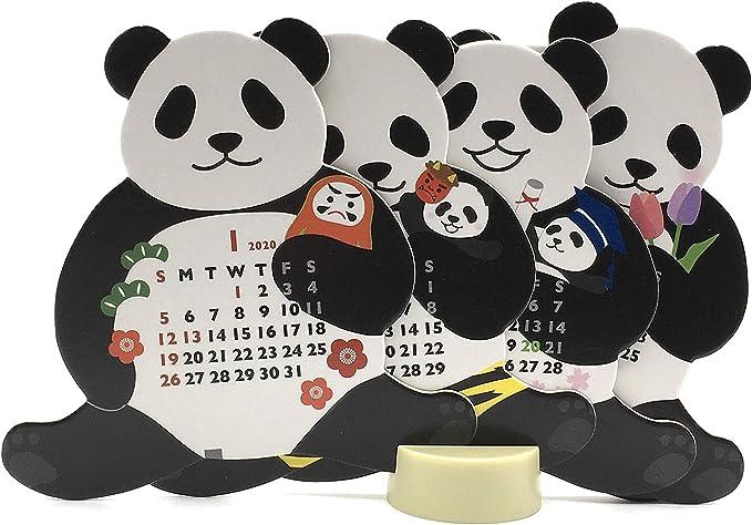 Amazon Com Mini Size Panda 2020 Die Cut Desktop Calendar