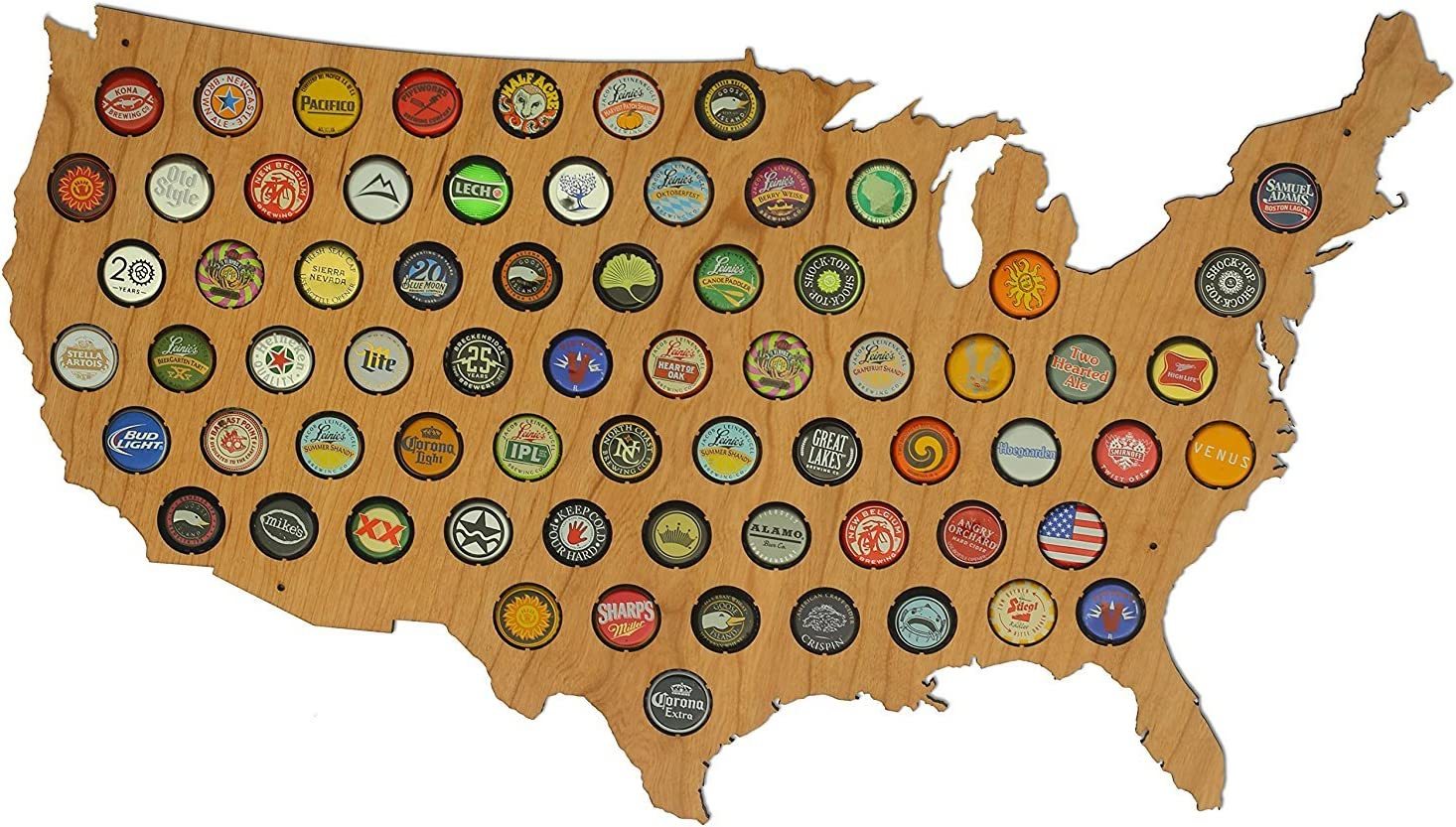 USA Beer Cap Map Cherry - Glossy Wood Bottle Cap Holder - Skyline Workshop - Made in the USA! - Great Christmas gift!