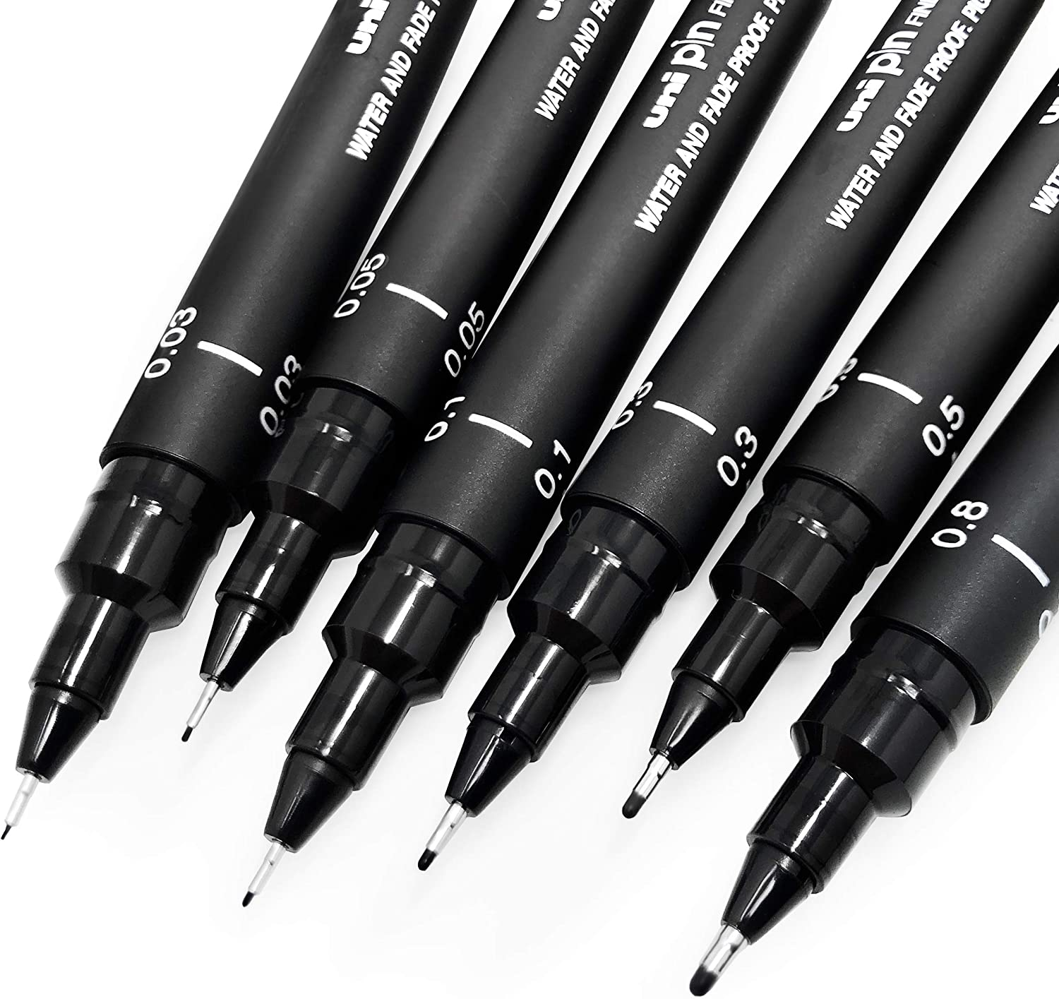 Uni Pin Fineliner Drawing Pen - Sketching Set - Black Ink - 0.03 to 0.8mm - Set of 6