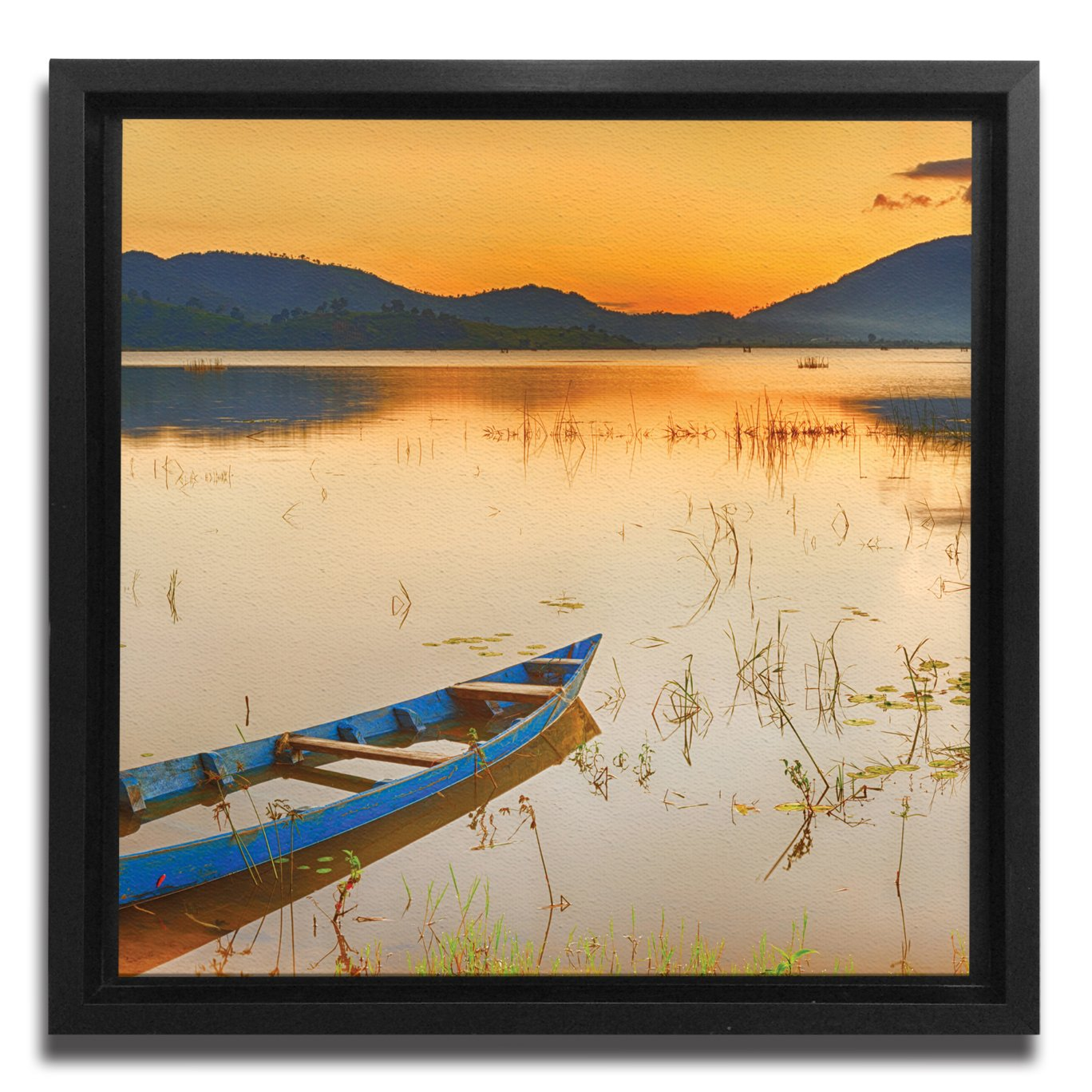 JP London Ready to Hang Made in North America Framed 1.5in Thick Gallery Wrap Canvas Wall Art Vietnam Long Boat Lake Sunset 18in SQSFCNV2382