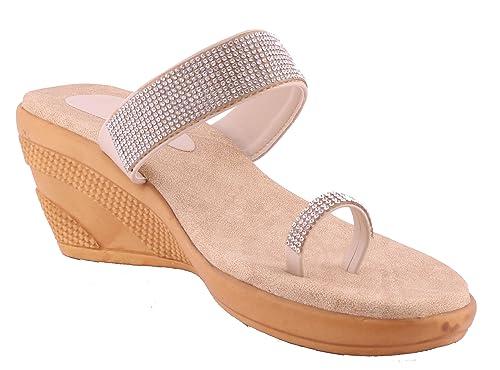 foot wagon Cream Silver Decorative Slippers  0f20223a8