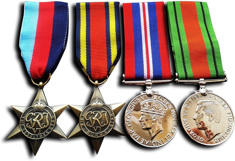 4x Set 1945 star Burma Star War Medal /& Defence Medal WW2 Military Medals Repro