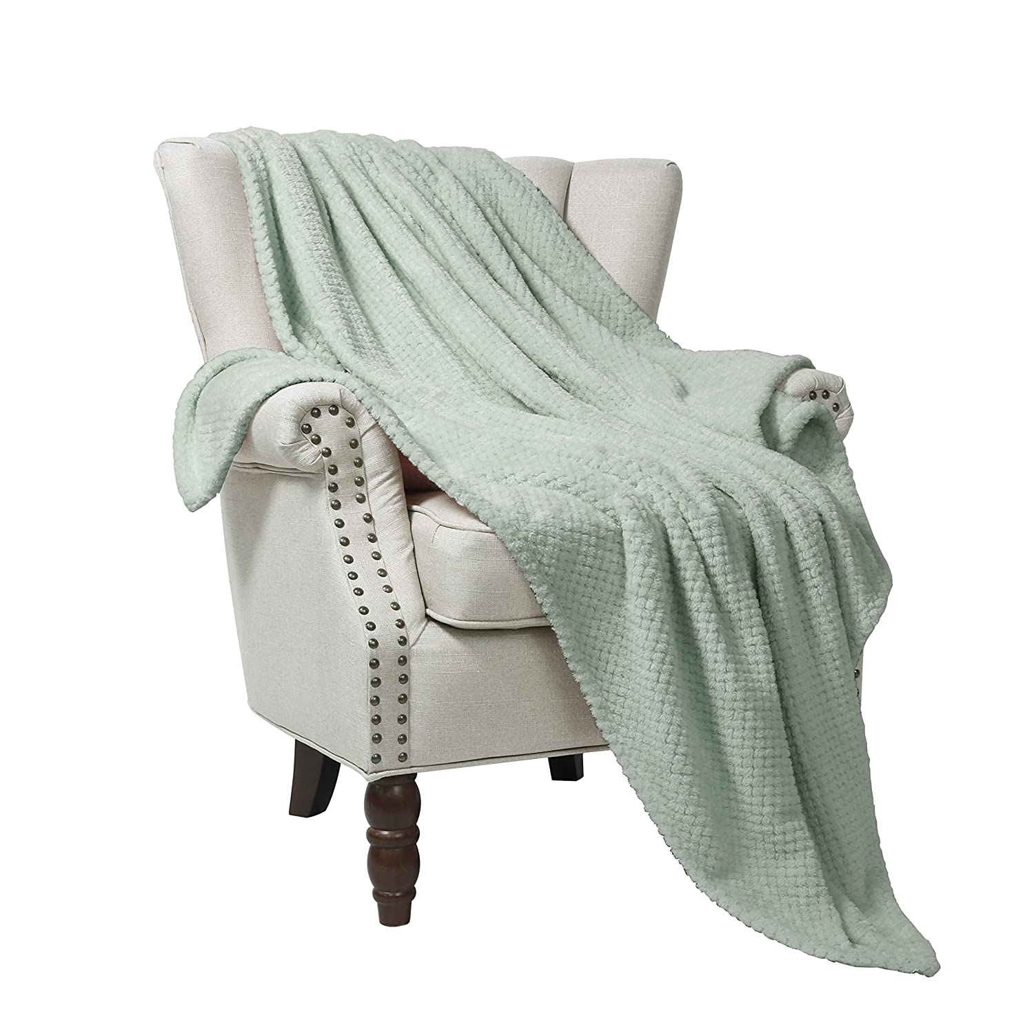 "Exclusivo Mezcla Waffle Flannel Fleece Velvet Plush Large Throw Blanket – 50"" x 70"" (Mint)"