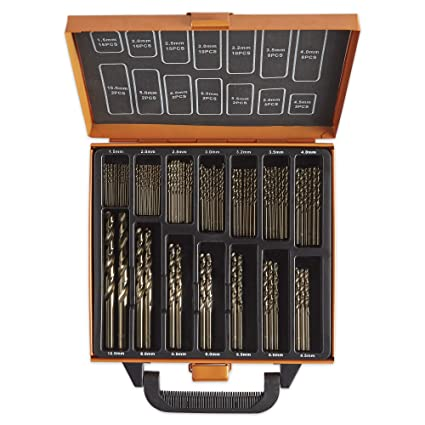 VonHaus Juego de Brocas de Cobalto de 99 piezas – Para uso en Titanio, Acero Inoxidable, Ladrillo, Plástico y Madera - Estuche Incluido