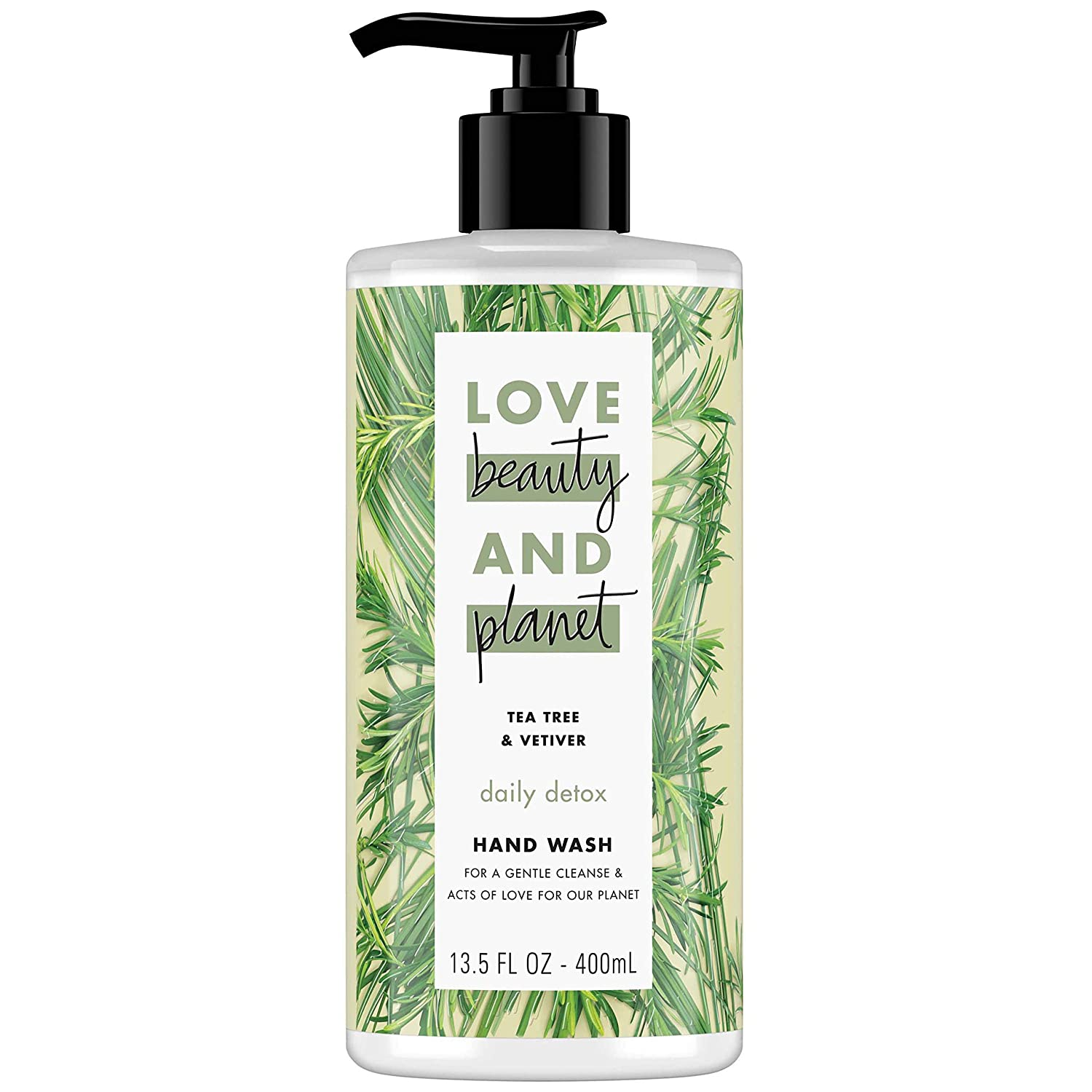 Love Beauty & Planet Daily Detox Hand Soap Tea Tree Oil & Vetiver Wash Away Bacteria with Effective Plant-Based Cleansers 13.5 oz