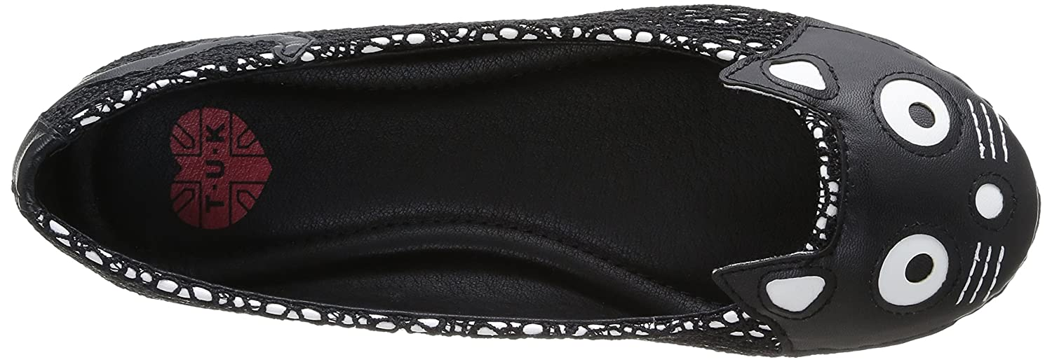 T.U.K. Shoes Donna Character Nero Kitty Flat In Nero Crochet Nero Character (Nero) 01aa91