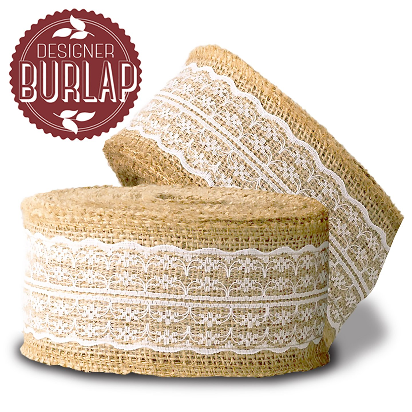 Burlap Ribbon With White Lace 468 Inches Long This Is April Hesian Top Perfect For Wedding Decorations Tie Backs Sashes Wreaths Bows