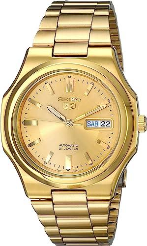 Amazon Com Seiko Men S Snkk52 Seiko 5 Automatic Gold Tone Stainless Steel Bracelet Watch Seiko Watches