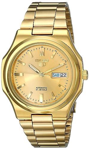 Seiko Men s SNKK52 Seiko 5 Automatic Gold-Tone Stainless Steel Bracelet  Watch 33653640be7