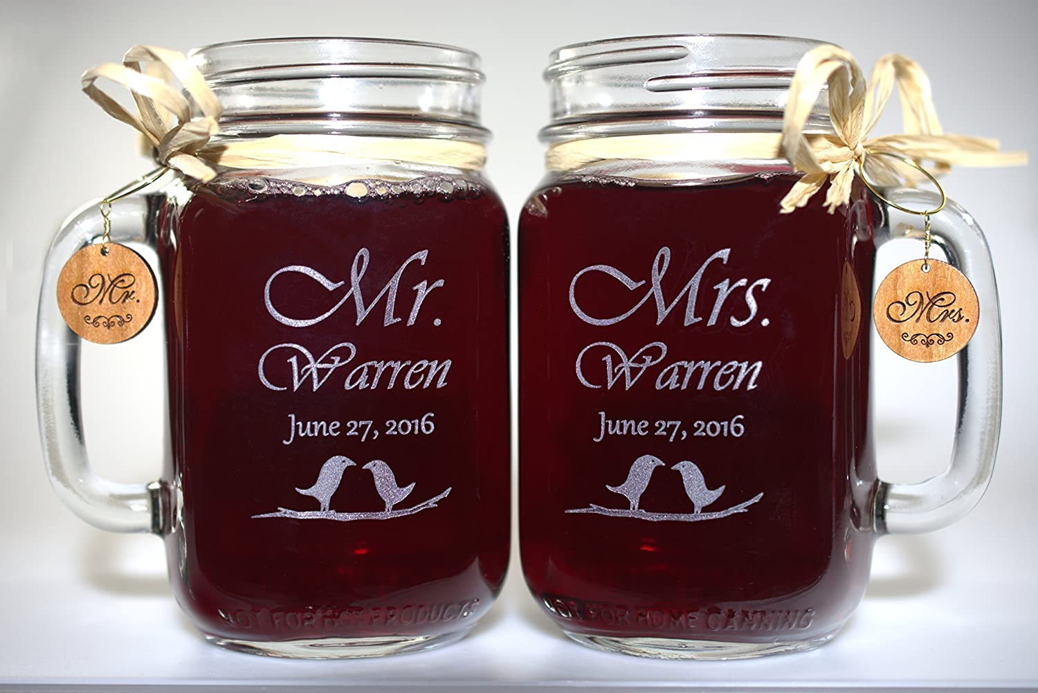 Mr and Mrs Wedding Mason Jars Love Birds 21 Font Choices