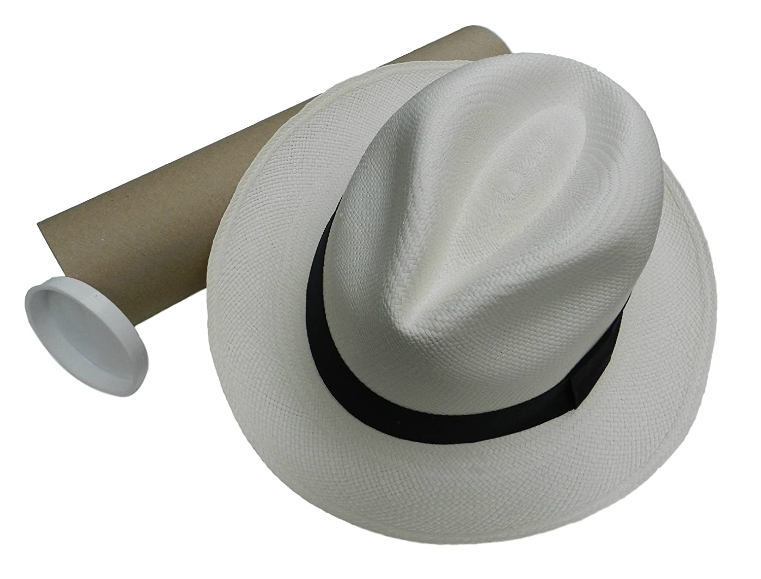 Equal Earth New Genuine Panama Hat Rolling Folding Quality with Travel Tube - White