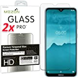 [2 Pack] MEZON Crystal Clear Premium 9H HD Tempered Glass Screen Protector for Nokia – Case Friendly, Shock Absorption (Nokia 7.2, 9H)