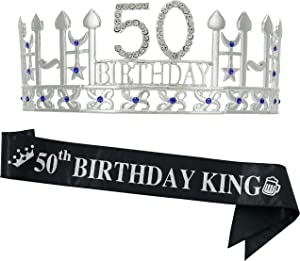"50th Birthday Gifts for Man, 50th Birthday Crown and"" 50th Birthday King"" Sash, 50th Birthday Party Supplies and Decorations(Silver)"