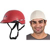 Habsolite All Purpose Safety Helmet with Strap for bikes (Red, Free Size) and Autofy Unisex Multipurpose Hair Protector Dust Pollution Skull Cap (Biege) Bundle