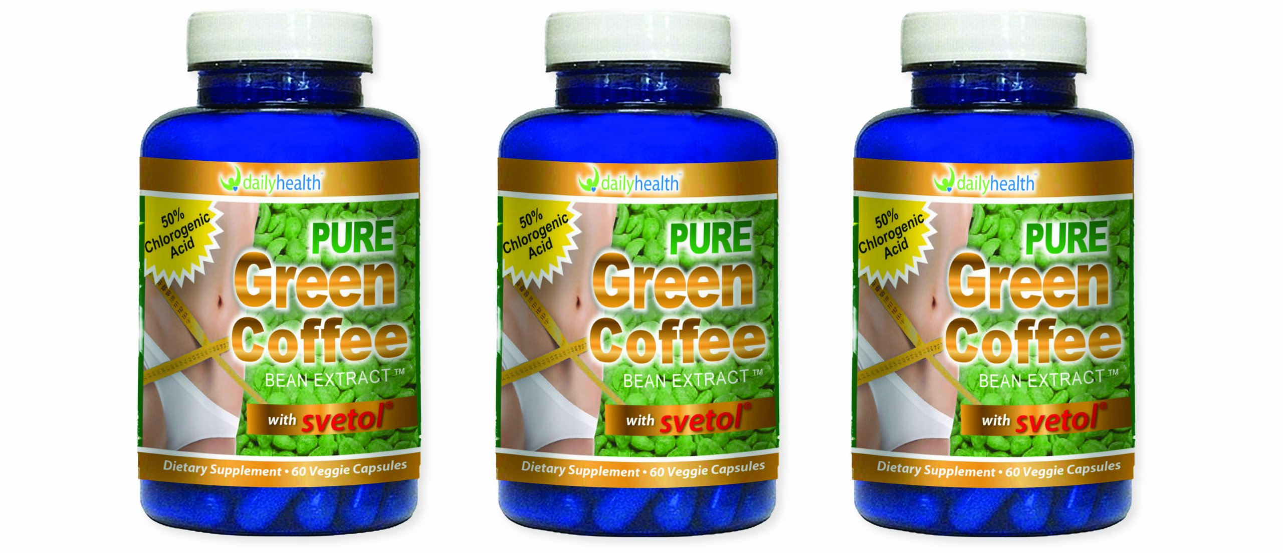 Green Coffee Bean Extract Pure 800 mg with Svetol 60 capsules 3 bottle pack Dietary Supplement