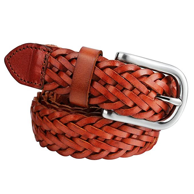 Mens Braided Leather Belt Pin Buckle Belt For Jeans And Dress Best