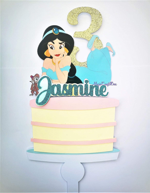 Astonishing Princess Jasmine Aladdin Birthday Party Cake Topper Glitter Any Personalised Birthday Cards Arneslily Jamesorg