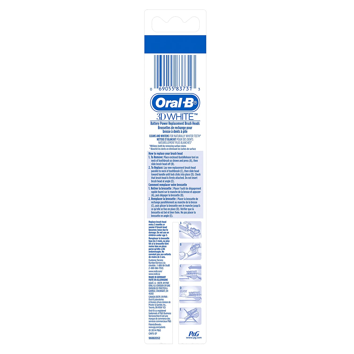 Amazon.com: Oral-B 3D White Action Replacement Toothbrush Heads, 2 Count: Prime Pantry