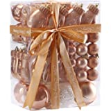 JIPIE 65 Pieces of Assorted Shatterproof Christmas Ball Ornaments Set Seasonal Decorative Hanging Ornament Set with Reusable Ribbon Gift Package for Holiday Xmas Tree Decorations, Rose Gold