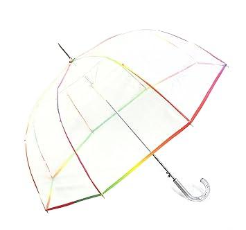 Glockenschirm Automatik Damen Regenschirm transparent durchsichtig mit Borte