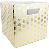 """DII Hard Sided Collapsible Fabric Storage Container for Nursery, Offices, & Home Organization, (11x11x11"""") - Honeycomb Gold"""