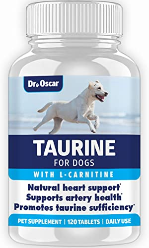 Taurine Supplement for Dogs, Meets RDA of 500 mg per 25lbs Weight Unlike Most Competitors, 120ct, Vet Endorsed for Enlarged Heart DCM , Congestive Heart Failure CHF Taurine Deficiency, Heart Murmur