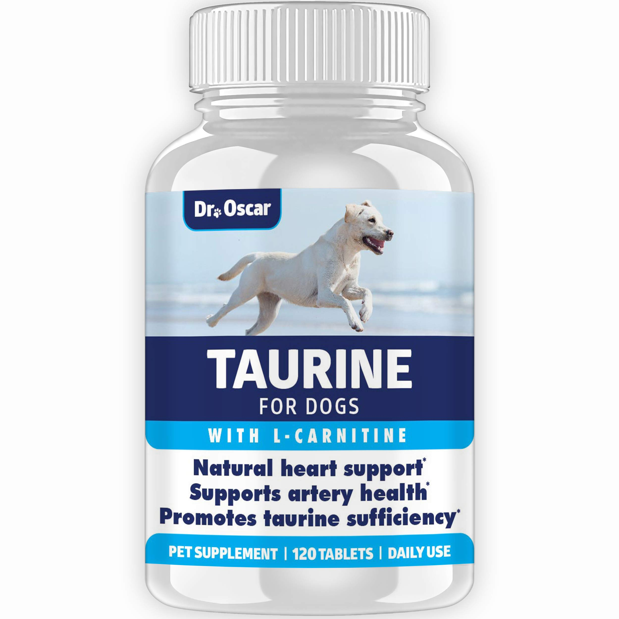New Taurine Supplement for Dogs with L Carnitine for Better Heart Support for Dogs. 2X More Taurine vs. Most Competitors, 120 Tablets, USA, Safe to Use with Medication, Money Back Guarantee by Dr. Oscar