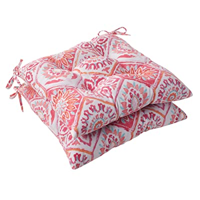 Pillow Perfect Outdoor Summer Breeze Tufted Seat Cushion, Flame, Set of 2: Home & Kitchen