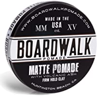 Boardwalk Matte Pomade 4.5oz Firm Hold Clay, Strong Hold - Matte Finish. Water-Based/Soluble, Made with Volcanic Ash and Aloe-Vera, Vegan & Paraben-Free