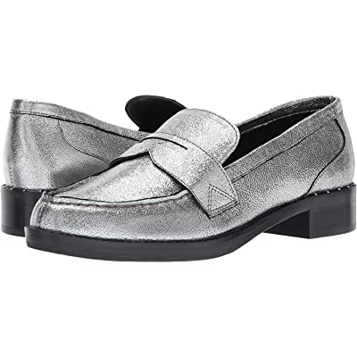 Marc Fisher Womens Vero Leather Closed Toe Loafers, Pewter Leather, Size 7.5