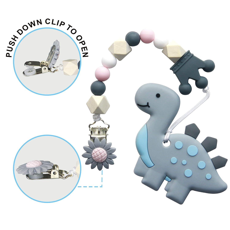 Bei/ßring f/ür Babys Baby Zahnungshilfe K/ühlend Zahnen Spielzeug Zahnungshilfe BPA Frei Weich mit Schnuller Clip f/ür Kleinkind S/äugling Jungen M/ädchen