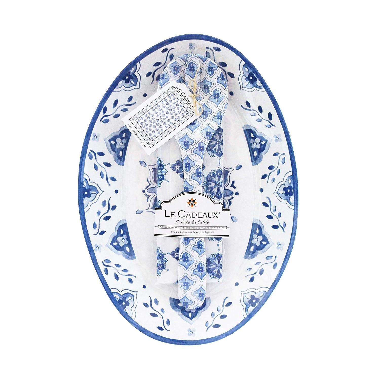 Le Cadeaux モロッコメラミン大皿 サラダサーバー コットンティータオルセット   B07P24B4LL